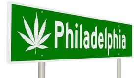 Huvudvägtecken för Philadelphia med marijuanabladet Royaltyfria Foton