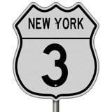 Huvudvägtecken för rutt 3 i New York Royaltyfria Foton
