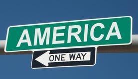 Huvudvägtecken med AMERIKA och EN VÄG vektor illustrationer
