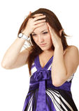 huvudvärk isolerad vit kvinna Arkivfoto