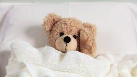 Huvudvärk sömnlöshet Gullig nalle i säng som täckas med en varm filt som rymmer hans huvud royaltyfri fotografi