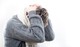 huvudvärkhalsen smärtar Royaltyfria Bilder