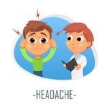 Huvudvärkläkarundersökningbegrepp också vektor för coreldrawillustration Arkivbilder