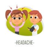 Huvudvärkläkarundersökningbegrepp också vektor för coreldrawillustration Royaltyfri Fotografi