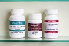 HuvudvärkstablettIbuprofenAcetaminophen Arkivfoto