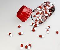 Huvudvärkstablettpreventivpillerar och flaska Fotografering för Bildbyråer