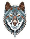 Huvudzentangle för den gråa vargen stiliserade, vektorn, illustrationen som var freehan royaltyfri fotografi