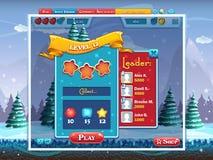 Huw Kerstmis - de voorbeeldtaken voeren het spel van de niveaucomputer uit Stock Afbeeldingen
