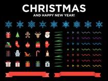 Huw Kerstmis en de Gelukkige elementen van het Nieuwjaar moderne materiële ontwerp met sneeuwvlokken, pictogrammen, pijnboomnaald vector illustratie