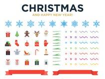 Huw Kerstmis en Gelukkig Nieuwjaar modern ontwerp vector illustratie