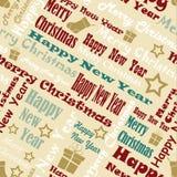 Huw Kerstmis en Gelukkig Nieuwjaarpatroon Royalty-vrije Stock Foto