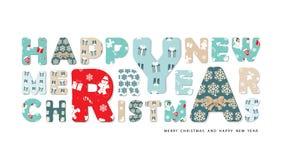 Huw Kerstmis en het Gelukkige Nieuwjaar van letters voorzien Stock Fotografie