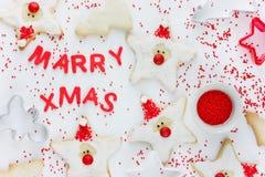 Huw Kerstmis! Het concept van het vakantiebaksel met leuke eigengemaakte santakok Stock Foto's