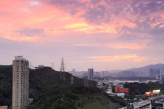 Huwei hill residential area sunset Stock Images