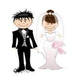 Huwelijk - beeldverhaalbruid en bruidegom Stock Afbeeldingen