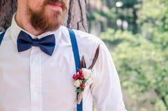 Huwelijk boutonniere Stock Foto's