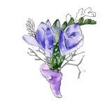 Huwelijk boutonniere Een boeket van bloemen Geïsoleerde watercolor Royalty-vrije Stock Foto