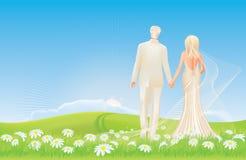 Huwelijk - bruid en bruidegom - de lenteweide royalty-vrije illustratie