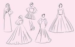 Huwelijk, bruidsmeisje, kleding, silhouetten Stock Fotografie