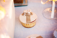 Huwelijk cupcakes op de huwelijkslijst stock fotografie