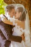 Huwelijk dat van bruid en bruidegom in park is ontsproten Stock Afbeelding