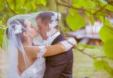 Huwelijk dat van bruid en bruidegom in park is ontsproten Royalty-vrije Stock Afbeeldingen
