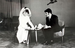 Huwelijk in de jaren '70 in de USSR royalty-vrije stock foto's