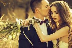 Huwelijk die paar omhelzen stock afbeelding