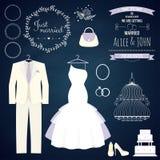 Huwelijk dresse en bruidegomkostuum met verschillend Stock Afbeelding
