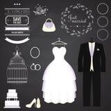 Huwelijk dresse en bruidegomkostuum met verschillend Stock Foto