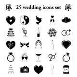 Huwelijk 25 eenvoudige geplaatste pictogrammen vector illustratie