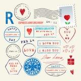Huwelijk en de Dagzegelreeks van Valentine Vector illustratie Bloem en harten op witte achtergrond Stock Foto's