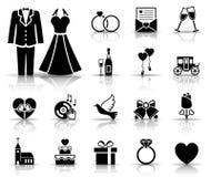Huwelijk en liefdepictogramreeks vector illustratie