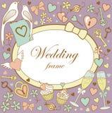 Huwelijk-kader-op-violet Stock Foto