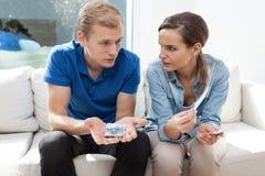 Huwelijk met financieel probleem Stock Fotografie