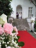 Huwelijk met ringsdragers het wachten Stock Foto