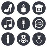 Huwelijk, overeenkomstenpictogrammen Ring met diamant Stock Foto