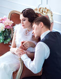 Huwelijk in retro stijl Stock Foto's