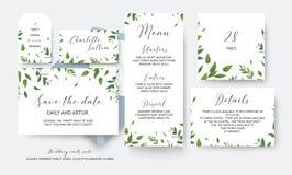 Huwelijk sparen de datum, menu, etiket, lijstaantal, informatiekaarten vec royalty-vrije illustratie