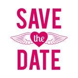 Huwelijk sparen de Uitnodiging van de het Kentekenliefde van het Datum Typografische Etiket stock afbeelding