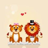 Huwelijk van leeuw en leeuwin Royalty-vrije Stock Fotografie