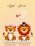 Huwelijk van leeuwen Stock Afbeeldingen