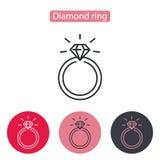 Huwelijk of verlovingsring met diamant Royalty-vrije Stock Afbeeldingen