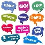 Huwelijkenuitdrukkingen in vector geplaatste de fotosteunen van toespraakbellen stock illustratie