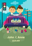 Huwelijks achtergrondontwerp Het paar op de auto stock foto