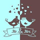 Huwelijks blauwe en bruine vogels Stock Afbeelding