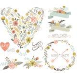 Huwelijks Bloemeninzameling elementen Harten, Pijlen, Bloemen, Kronen, Laurier stock illustratie