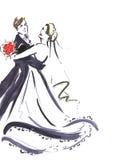 Huwelijks dansend paar Silhouet van bruid en bruidegom De uitnodiging van het huwelijk De kaart van het huwelijk De achtergrond v Stock Foto