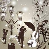 Huwelijks elegante achtergrond met leuke paarstraatlantaarn en vi vector illustratie