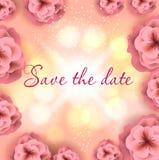 Huwelijks greating kaart, sparen de datum, Royalty-vrije Stock Afbeeldingen